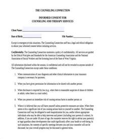 Counselling Consent Form Template by Sle Counselling Consent Forms 8 Free Documents In