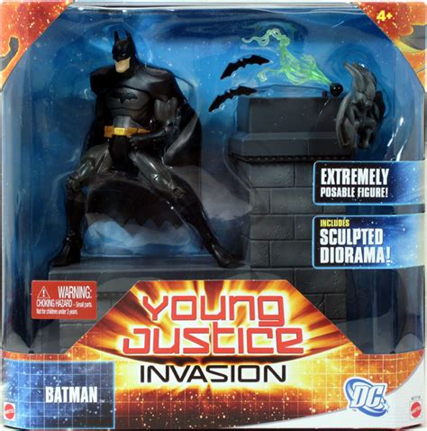 summary justice an all action 1408708728 dc universe young justice invasion batman w sculped diorama bruce wayne mattel ebay