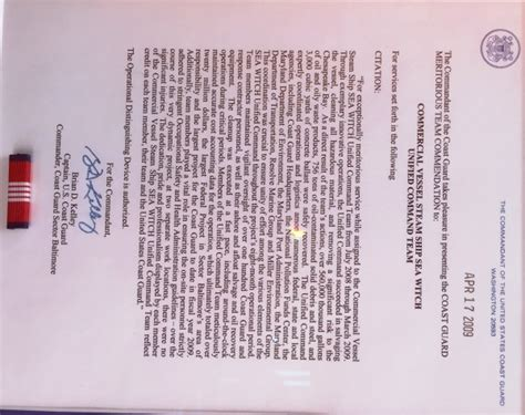 Sea Service Letter Uscg miller environmental inc timeline miller environmental inc