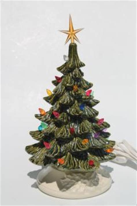 electric ceramic christmas tree with lights vintage and new year