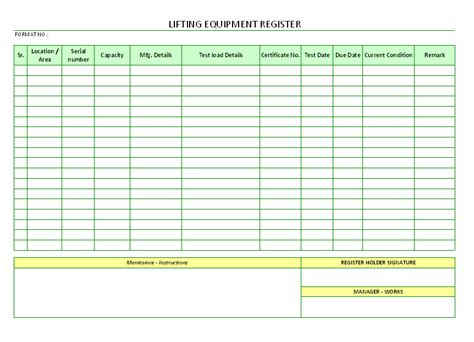 test and tag log book template lifting equipment register