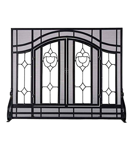 where to buy fireplace doors large two door floral fireplace screen with beveled glass