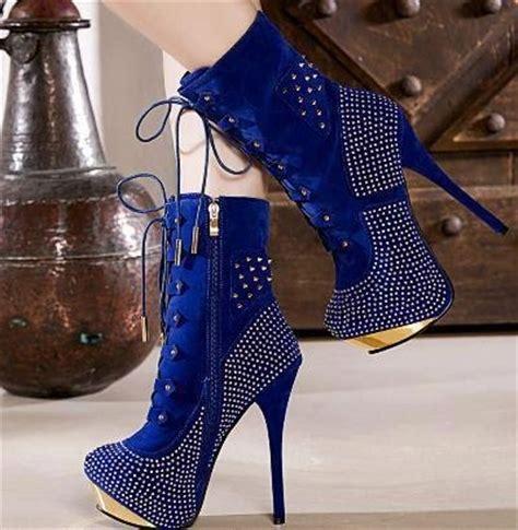 royal blue high heel boots fashion