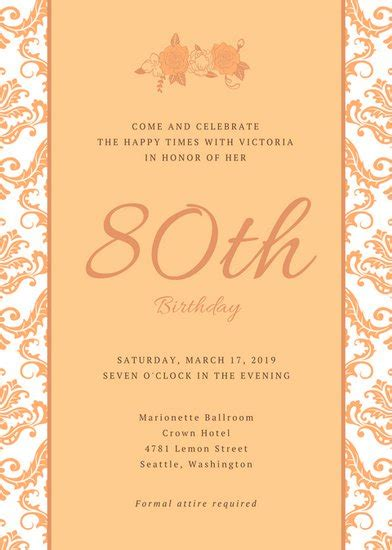 80th Birthday Party Invitations Template Business 80th Birthday Invitations Templates