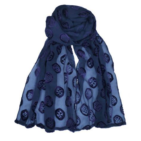 s scarves navy crepe silk devore scarf