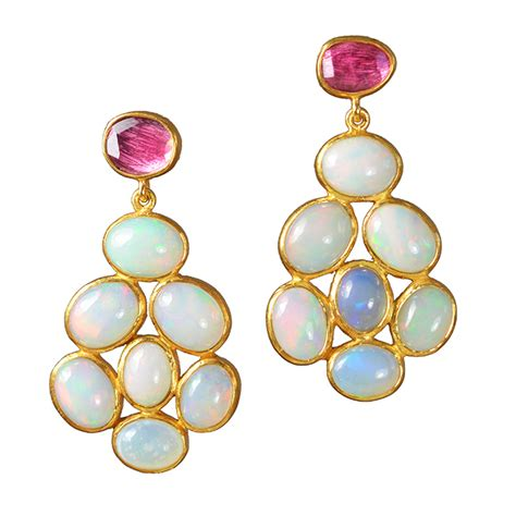 tourmaline opal opal stud earrings pink tourmaline sushilla jewellery