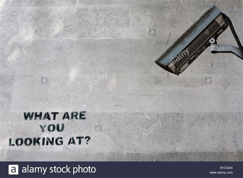 stencil nation graffiti community cctv camera and what are you looking at stencil graffiti by banksy stock photo royalty free