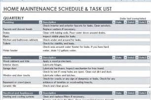 home maintenance home maintenance schedule and task list template formal