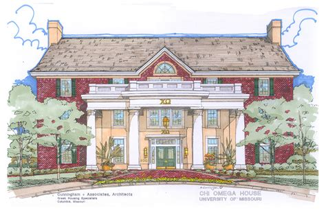 Fraternity House Floor Plans by Chi Omega 406 Burnam Ave Architectural Elevation By