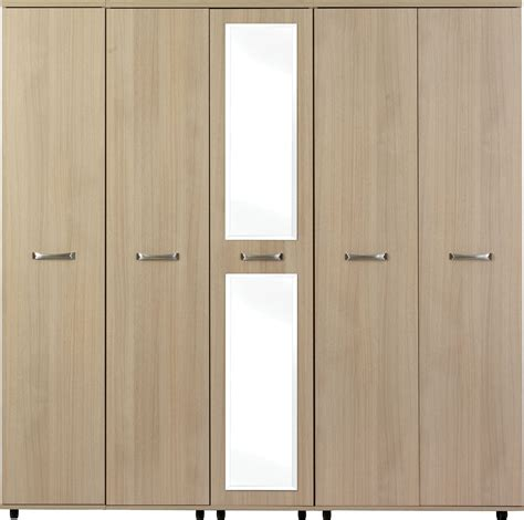 Light Oak Wardrobe light oak 5 door wardrobe with centre mirror