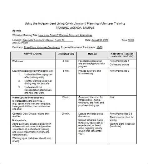training agenda template 8 free word excel pdf format