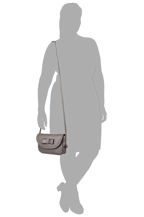 Fei Li Button Motif Leather Handbag Set Pastel grey mini applique bow cross bag with extended