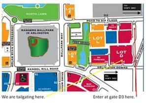 rangers ballpark parking map rangers tailgate 17 around arlington