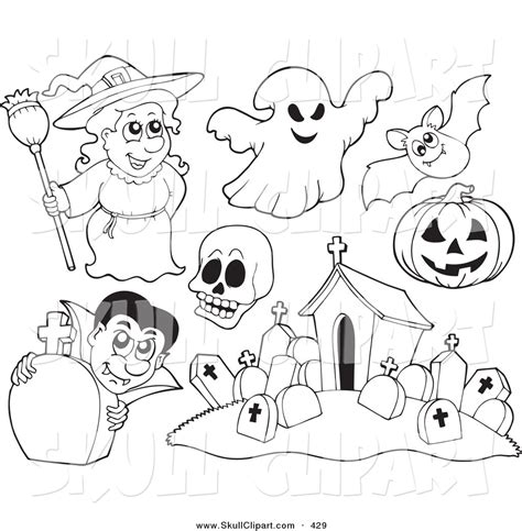 witch with ghosts coloring page halloween vector clip art of a digital set of halloween coloring