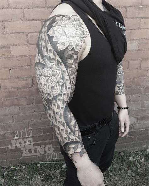 geo full sleeve with mandalas by joe king tattoonow
