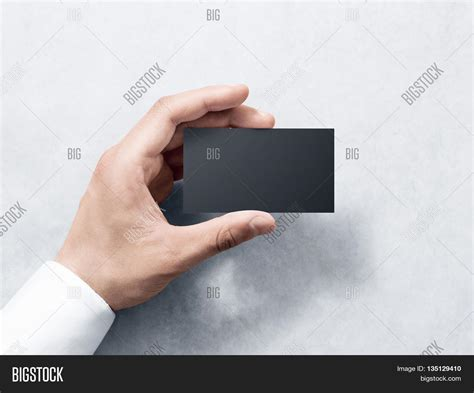 mini business card paper template printer hold blank plain black business card design mockup