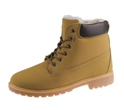 womens fur lined ankle combat boots rubber grip sole