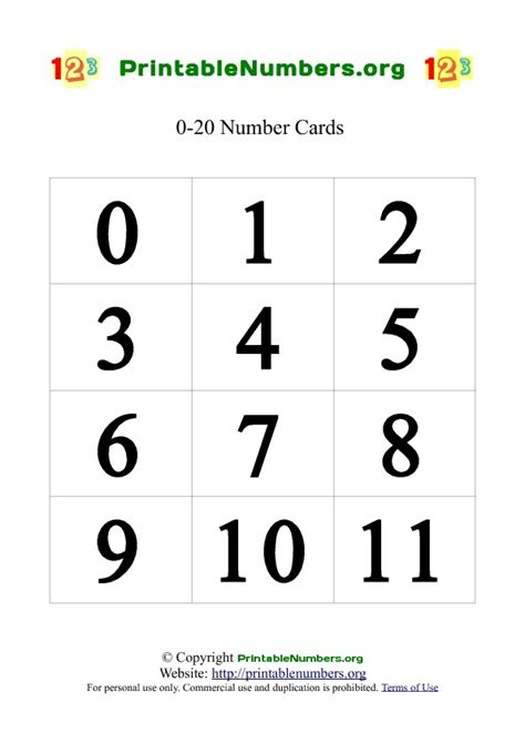 number templates 1 20 printable number cards 0 20 printable numbers org