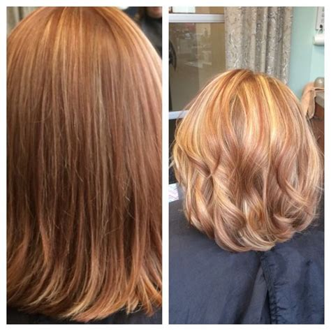 Copper Lowlights For Short Blonde Hair | short hair blonde and copper highlights quaint beauty