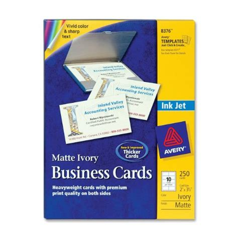 avery laser business cards template avery 2 x 3 5in ink jet business cards 250 cards ivory