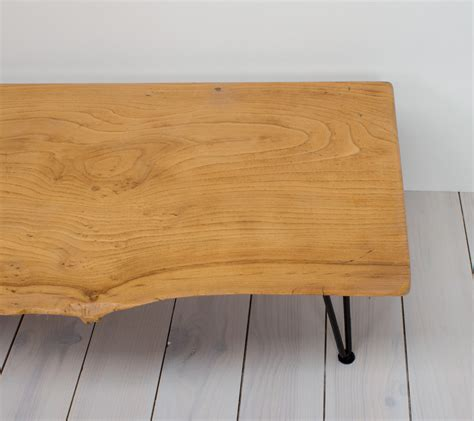 elm bench table elm coffee table bench with hairpin legs arc