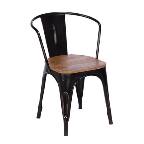 buy rustic metal wood dining chair black frame chairs furniture