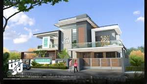 contemporary bungalow exterior elevation 3d day rendering