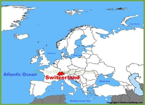 switzerland map in world map switzerland location on the europe map
