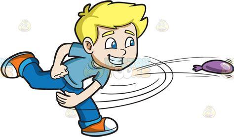 A playful boy pitches a water balloon cartoon clipart vector toons