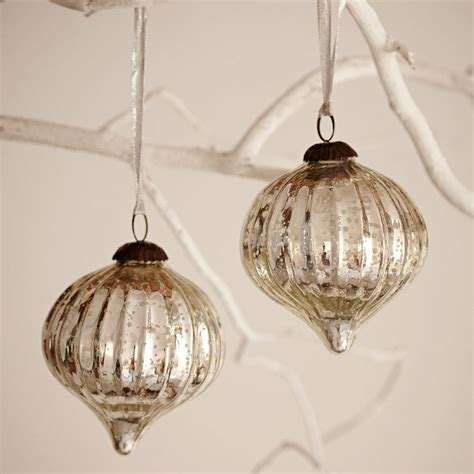 large antique effect glass christmas bauble set of two by