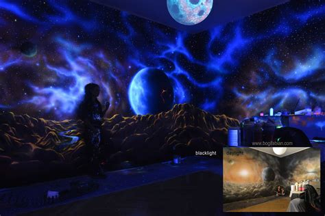 glow in the paint bedroom ideas when the lights go out my glowing murals turn these rooms