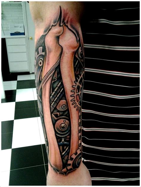 biomechanical arm tattoo design for men bio mechanical