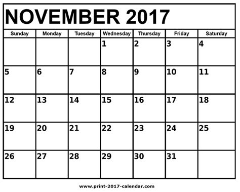 printable monthly calendar november november 2017 printable calendar
