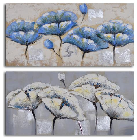 blue and white painting blue white poppy quartet hand painted 2 piece canvas set