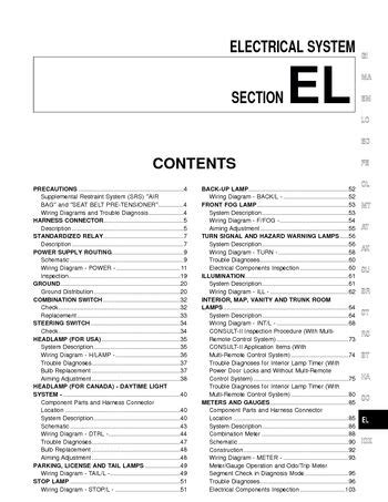 small engine service manuals 1997 nissan sentra interior lighting 2000 nissan sentra electrical system section el pdf manual 350 pages