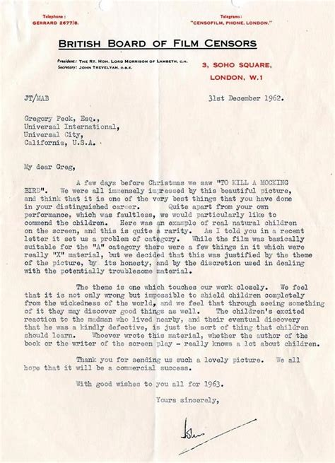 business letter to kill a mockingbird when to kill a mockingbird was submitted to the