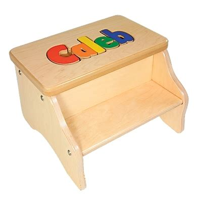 Personalized Child Puzzle Step Stool by Two Step Stools
