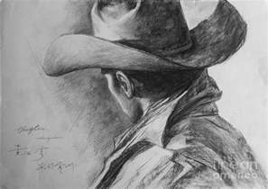 original man cowboy pencil drawing sketch art on peper by