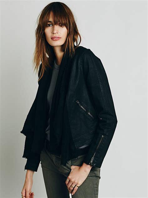 Fashion Find Front Drape Jacket by Free Drape Front Moto Jacket In Black Lyst