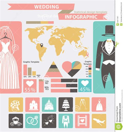 Wedding Infographic Set Wedding Wear World Map Stock Vector Illustration 54677367 Wedding Infographic Template