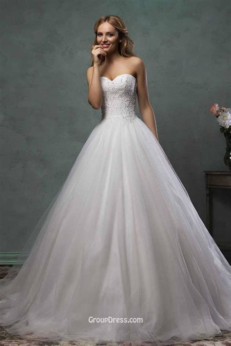 tulle wedding dress strapless sweetheart layered tulle gown