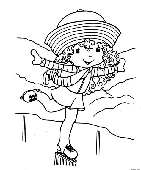 printable cartoon strawberry shortcake on skating coloring