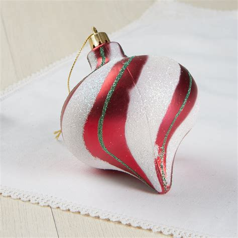 red and white striped christmas ornament christmas