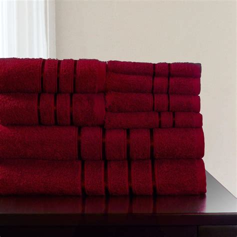 lavish home 8 piece 100 cotton bath towel set in burgundy 67 0013 bu the home depot