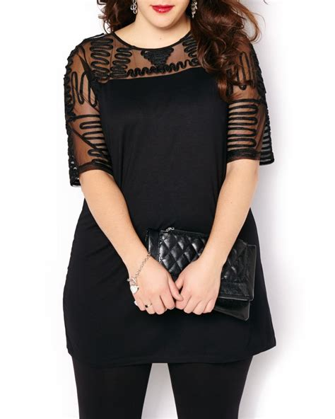 3 4 sleeve top with ribbon and mesh detail penningtons