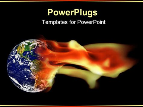 ppt themes on global warming powerpoint template earth globe in flames 14018