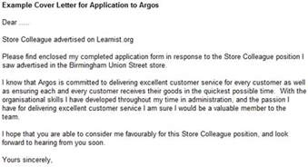 example cover letter for application to argos forums