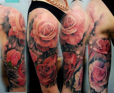 tattoo rose sleeve sleeve ideas center