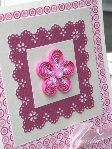 Paper Greeting Cards - beautiful paper quilling greeting card in shades of pink