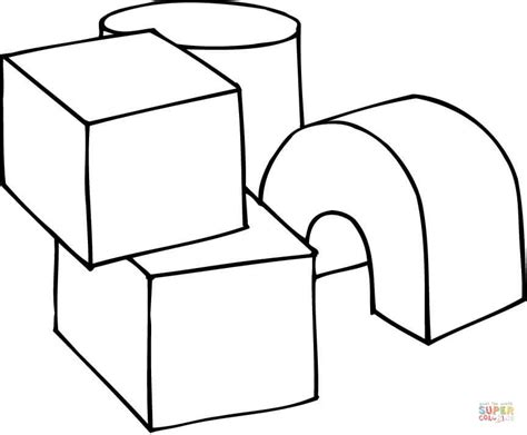 3d coloring pages 3d shapes as play cubes coloring page free printable